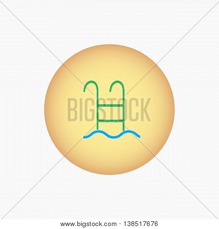 Ladder dropping into a pool. Vector icon