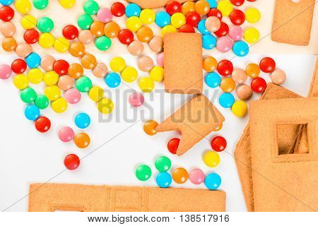 Multi-colored Jelly Beans And Details Of The Gingerbread House Closeup