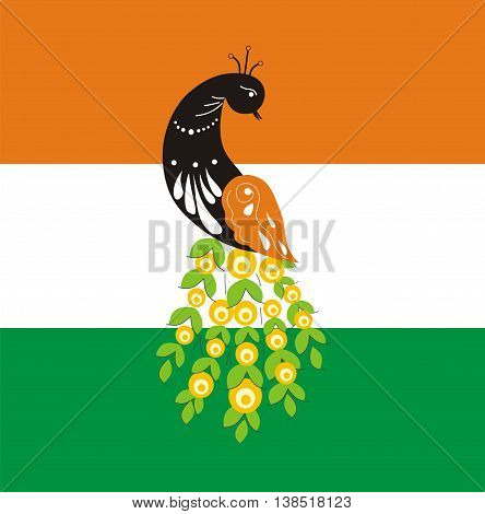 Fabulous bird of Paradise peacock on the background of the flag. The symbol of India. Vector illustration. Vector peacock