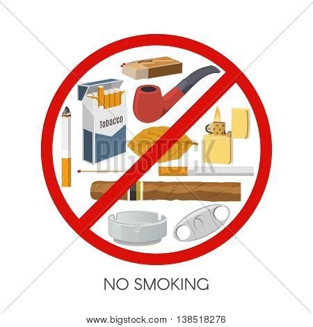 No smoking sign design with tobacco products and accessories inside red prohibitive symbol vector illustration