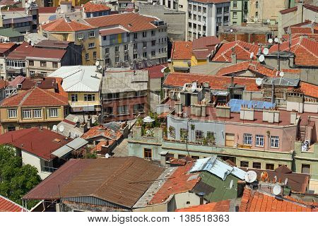 ISTANBUL - AUGUST 8: Panoramic view of Istanbul city from Galata Tower, August 8, 2013 in Istanbul, Turkey. Tourists visit Galata tower for this great panoramic view of Istanbul, Turkey.