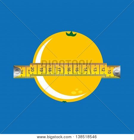 orange surrounded by tape measure, healthy life style, vector illustration