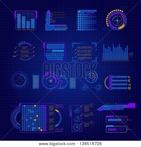 Abstract future interface colored and isolated icon set on digital dark blue background vector illustration