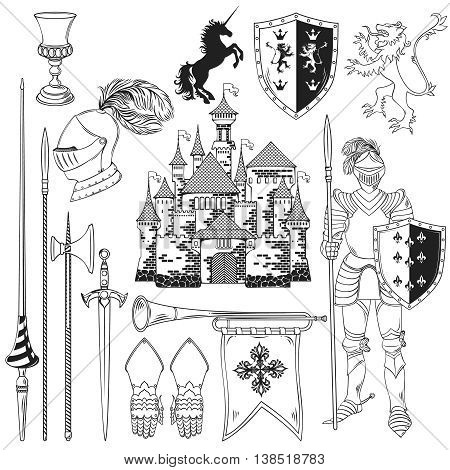Knight monochrome icons set with heraldic animals flag shield sword armour castle horn isolated vector illustration