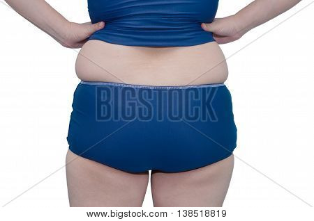 Back side of fat Asian woman in swim suit