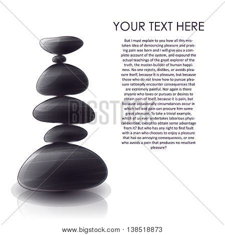 Pyramid of stones design with black glossy smooth pebbles title text on white background vector illustration