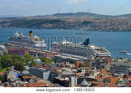 ISTANBUL - AUGUST 8: Unknown cruise ships in Istanbul Port, August 8, 2013 in Istanbul, Turkey. Istanbul is the world's fifth-most-popular tourist destination.