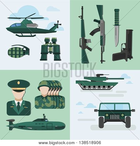 Flat army compositions with four square isolated and flat icon set on military theme auto equipment and uniform vector illustration