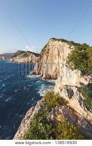 Coastline at Lefkada island in Greece. Cape Doukato, Ionian sea, Greece