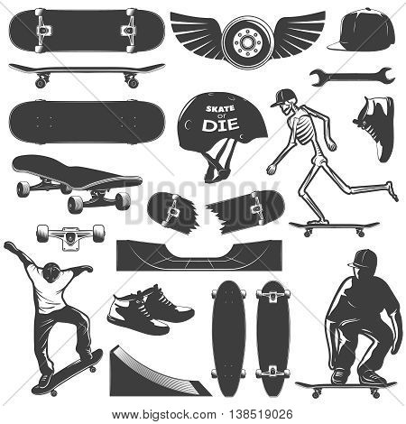 Skateboarding icon set equipment and protection for skater boy isolated and black on white background vector illustration