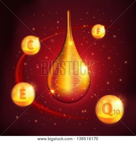 Collagen serum design with golden drop in center vitaminous balls around on starry red background vector illustration