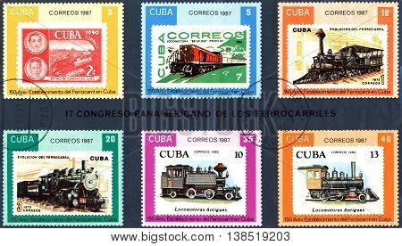 STAVROPOL RUSSIA - JULY 04 2016: A Stamp printed in the Cuba shows antique locomotive Cuban Railway 150th anniversary series circa 1987