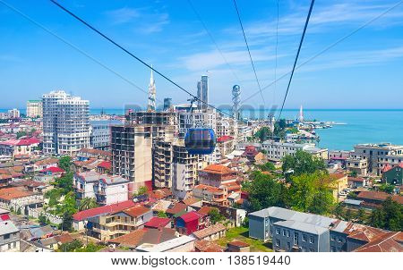 The Cableway is the best choice to discover the city from the air enjoy the landscape and architecture Batumi Georgia.