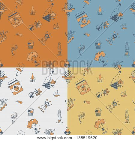 Autumn Seamless Pattern. Four Background in Different Colors. Vector