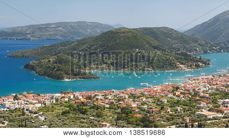 Nidri Town and Geni Bay. Panoramic view of Vlychos bay and Nydri town  Lefkada, Greece. View over town of Nidri