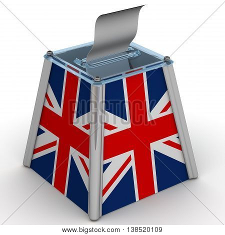 The ballot box with the flag of Great Britain. Ballot box to vote with the flag of Great Britain and ballot sheet is on the white surface. Isolated. 3D Illustration