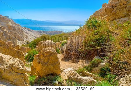 The rocky landscape of Judean desert in Ein Gedi oasis with the bright blue waters of the Dead Sea and Jordanian mountains on the background Israel.