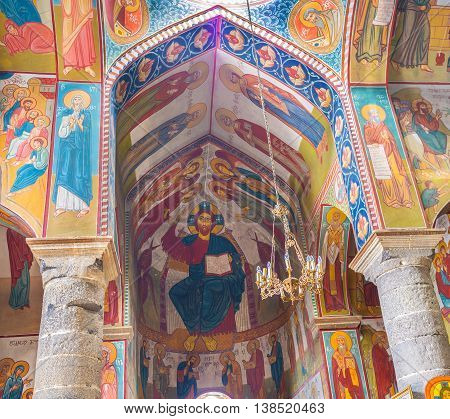 TBILISI GEORGIA - MAY 28 2016: The colorful frescoes in Upper Bethlehem Church located in lower Kala (Fortress) on May 28 in Tbilisi.