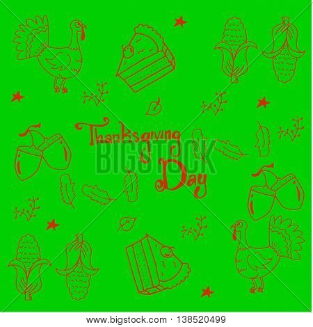 Thankgiving vegetable in doodle on green background vector