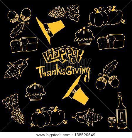 Happy Thanksgiving doodles vector art on black backgrounds