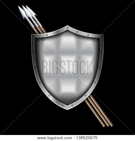 Ancient riveted shield and three spears on black background.