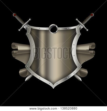 Medieval riveted shield with two swords and antique scroll on blak background.