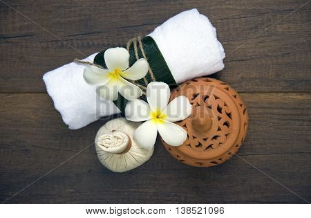 Spa massage compress balls, herbal ball on the wooden with treaments spa , Thailand, select focus