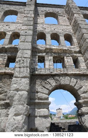 Roman Theater of Aosta. Valle D'Aosta. Italy
