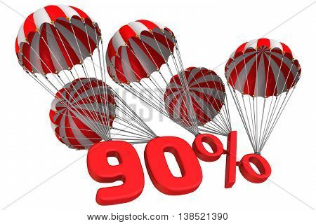 Ninety percent is falling down on parachutes. Isolated. 3D Illustration