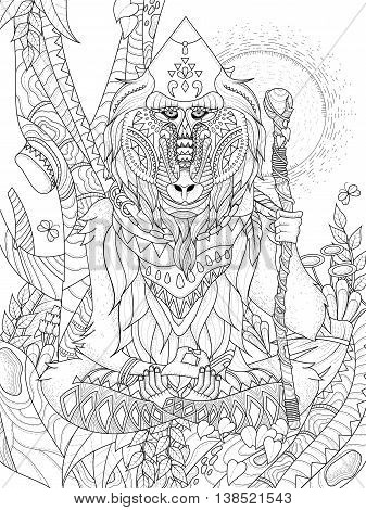 wisdom elder baboon crossed-legged in tree - adult coloring page