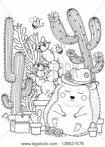 adorable hedgehog with cactus - adult coloring page