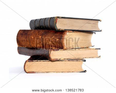 Literature concept. Stack of old book on white background