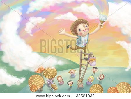 Boy Painting Colorful Sky