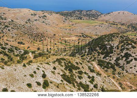Lentil fields on Vouni plateau, Englouvi village,  Lefkada, Greece