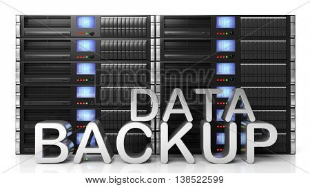 3D rendering of server storage racks with Data Backup text , isolated on white background.