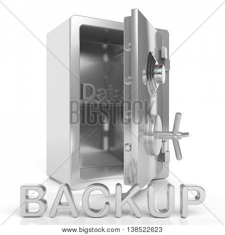 3D rendering of open Safe with Data Backup text , isolated on white background.
