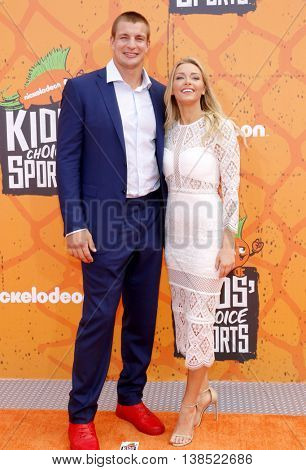 Rob Gronkowski and Camille Kostek at the Nickelodeon Kids' Choice Sports Awards 2016 held at the UCLA's Pauley Pavilion in Westwood, USA on July 14, 2016.