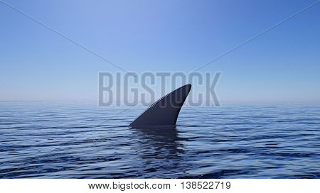 3D rendering of shark fin above water, with blue sky background.