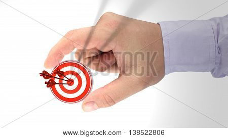 Hand holding a target which is hit by three arrows with a bug texture 3D illustration