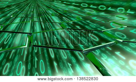 Big data concept digital green stream reflecting on a hexagon grid surface 3D illustration