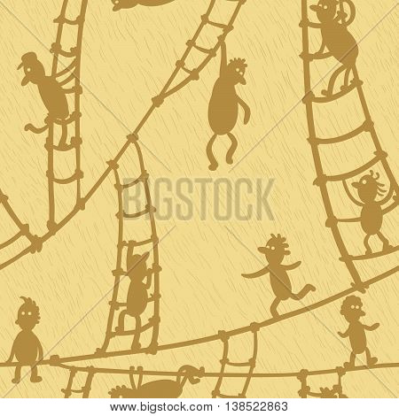Doodle seamless pattern with people on the stairs