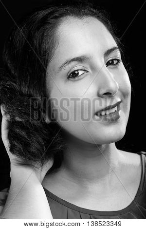 young latina girl portrait in black and white