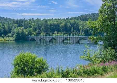 Klamer Bridge at Verse Reservoir in Sauerland,North Rhine Westphalia,Germany