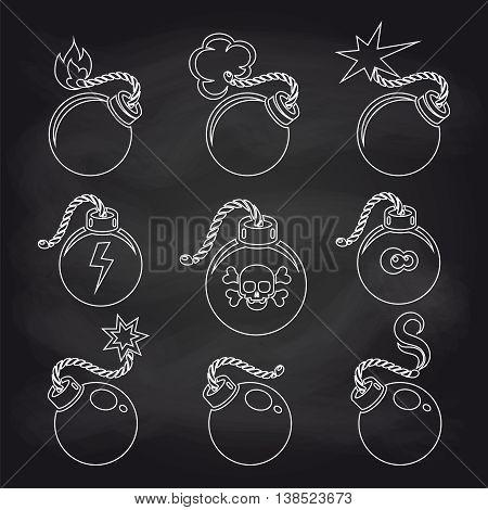 Bomb line icons set on chalkboard. Vector illustration