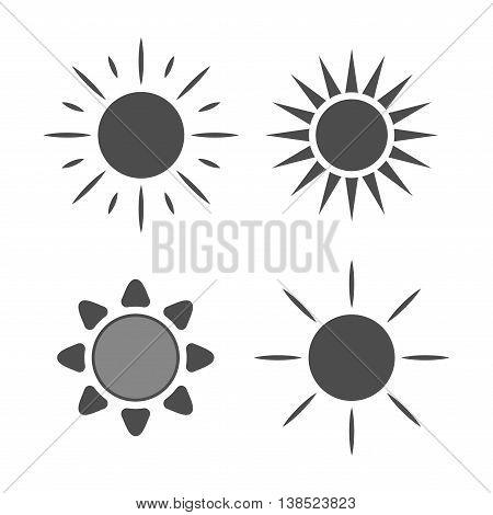 Sun icons set. Collection light gray signs with sunbeam. Design elements isolated on white background. Symbol of sunrise heat sunny and sunset morning sunlight. Flat style. Vector Illustration.