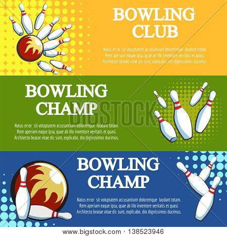 Bowling banners set vector with halftone effects