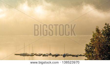 Morning at Biggesee Reservoir in Sauerland near Olpe,North Rhine Westphalia,Germany
