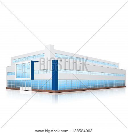 factory building with offices production facilities and reflection