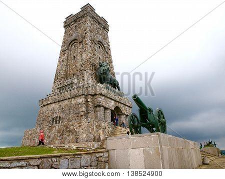 monument and gun on shipka mountine. Bulgaria. Stara Zagora
