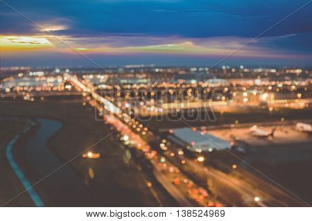 Blurred image of city at night  background usage